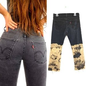 Levis Denim Custom Bleached Ombre Skinny Jeans 514